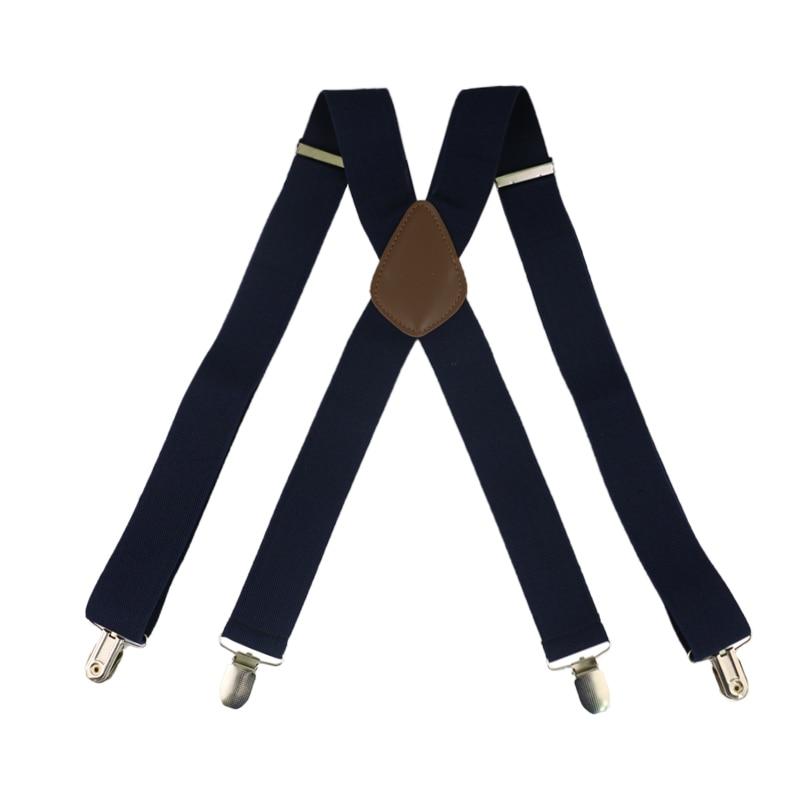 Winfox Red Black White 3.5cm Wide Men's Suspenders Men Braces 4 Clip Elastic Male Suspenders
