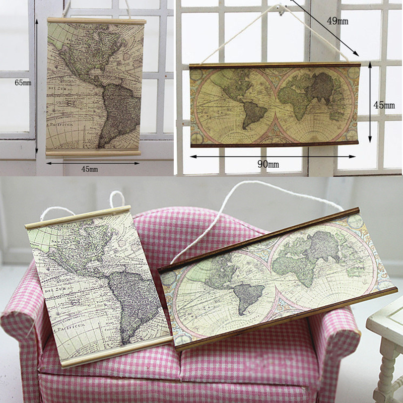 Mini World Map 1:12 Scale Dollhouse Miniature Simulation Furniture Toys For Doll House Decoration  DIY Doll House Accessories