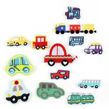 Cartoon Cars Patch for Clothing Iron on Embroidered Train Applique Cute Sew On Stripes Fabric Badge DIY Apparel Accessories @G