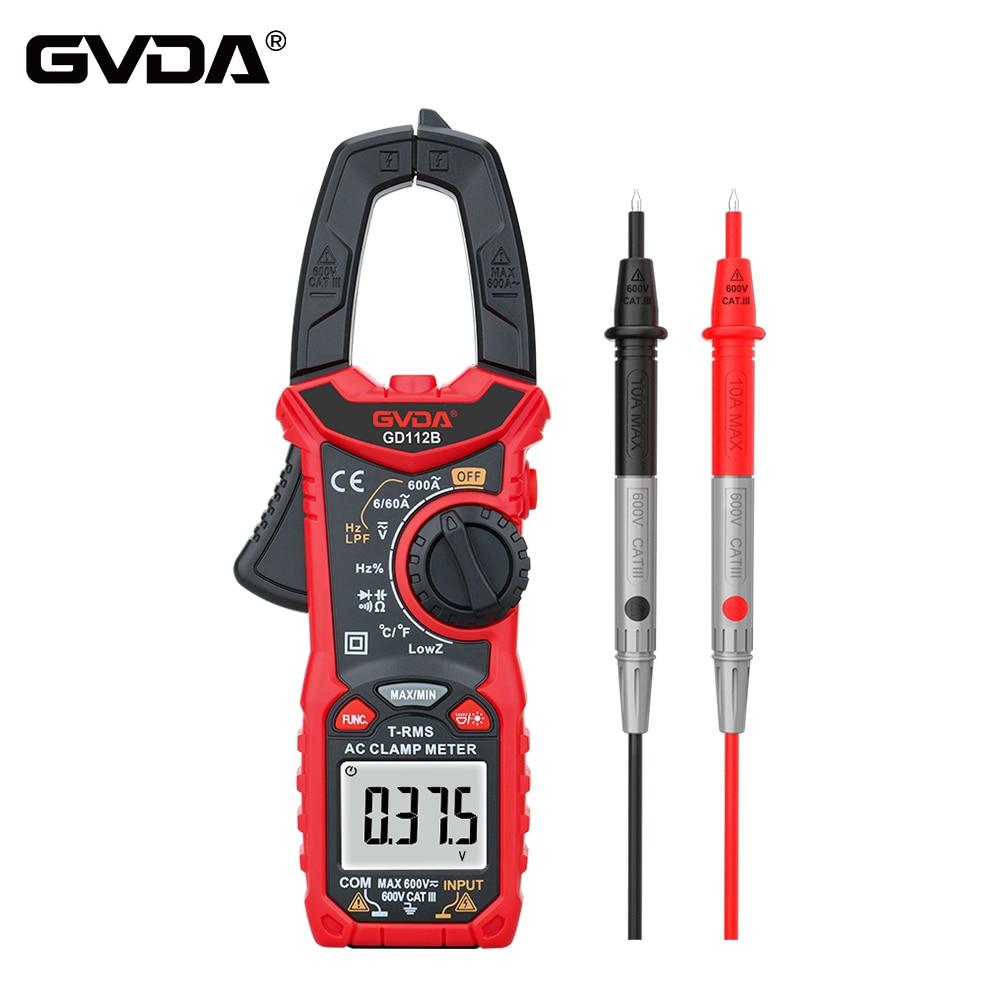 GVDA AC DC Digital medidor de pinza NCV multímetro 6000 valores eficaces verdaderos de la capacitancia de alta precisión Ohm, Hz temperatura Comprobador de tensión