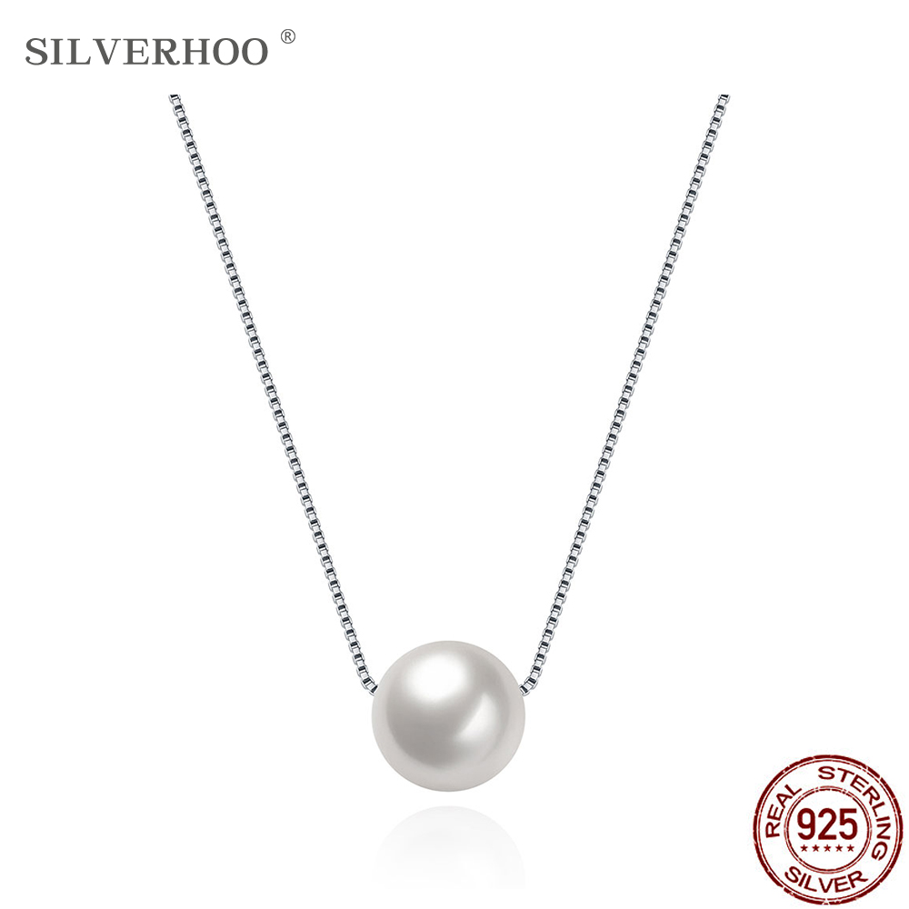 SILVERHOO 925 Sterling Silver Pearl Women Necklace Fashion Creative Boutique Jewelry For Girlfriend Valentine's Day Gift