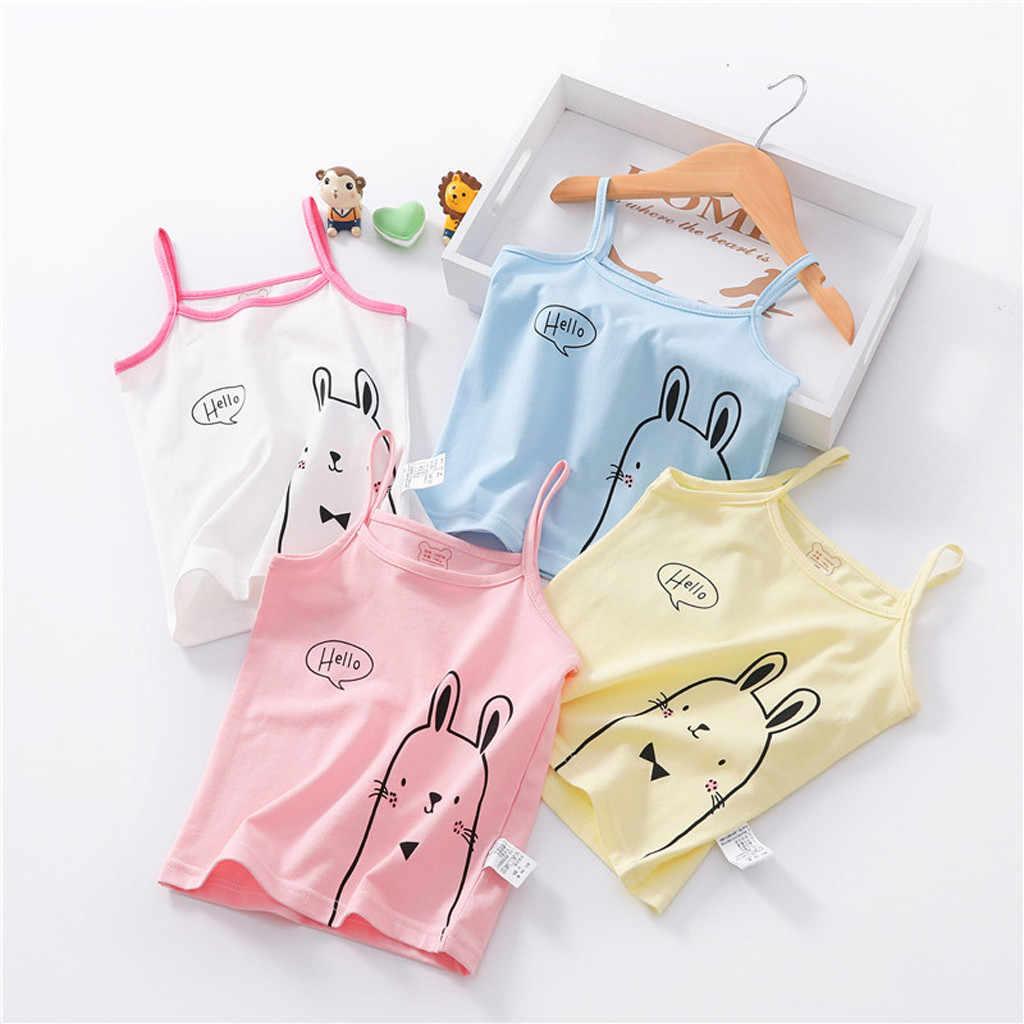 ฤดูร้อนเด็กชายหญิงเสื้อยืดแขนกุดสี Candy เสื้อเด็กผ้าฝ้ายพิมพ์สแควร์เสื้อกั๊กเด็กเสื้อผ้า