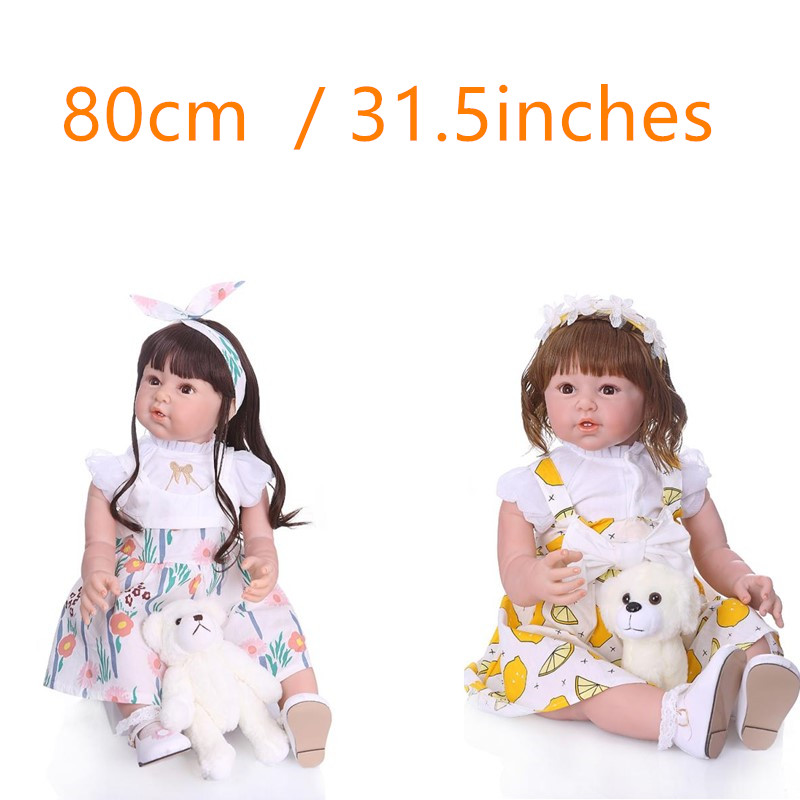 31.5inch Silicone Baby <font><b>Doll</b></font> long hair <font><b>80cm</b></font> <font><b>Doll</b></font> Reborn Babies Curly Hair Reborn toddler girl Gift Kids Toys Juguetes Brinquedos image
