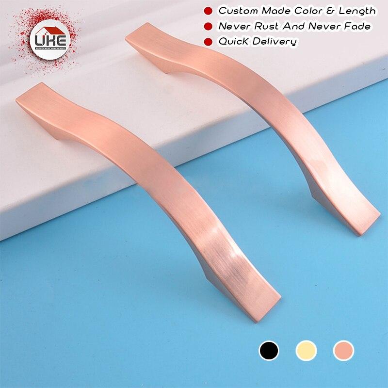 Gratis Verzending Meubels Hardware Aluminium Rose Gold Handgrepen Keukenkast Handgrepen Pull Handvat 96 Mm-160 Mm