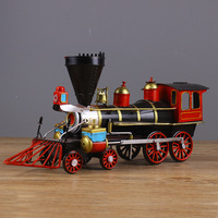 Diecast Metal Train Model Car Wrought Iron Vintage Tin Locomotive Model Train Car Model Creative Gift Toys for Children Adults