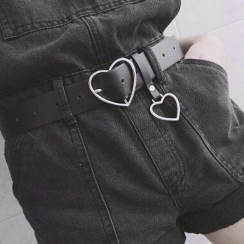 Heart Belt Girls Cute Silver Metal Fashion Black Leather Belts For Women Jeans Ladies Harajuku Accessories Cinture Femme Dress