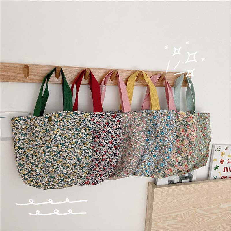 Floral Portable Lunch Bag Cotton Fabric Picnic Food Bags Girls Lunch Pouch Casual Ladies Mini Hand Bag Durable Shopping Handbag