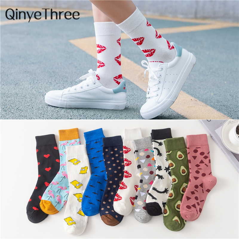 Women's Japanese Colorful Cartoon Mid Tube Socks Unisex Cute Funny Happy Red Lip Heart Avocado Flamingo Socks Christmas Gift
