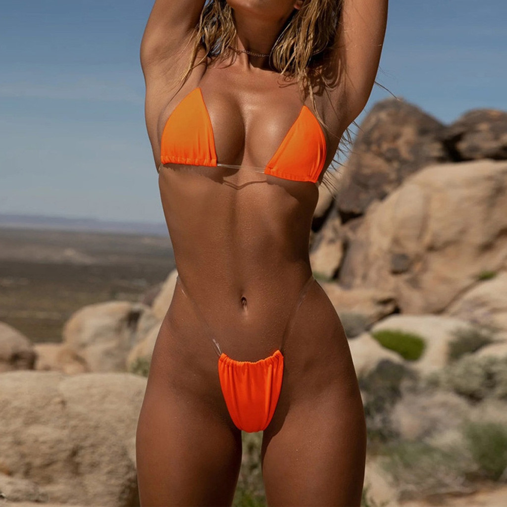 Frauen Bikini Set Bademode 2020 Neue Sexy Tanga Bikini Transparent Strapes Frauen Bademode Badeanzug Heißer Schwimmen Biquini #20