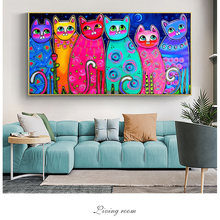 Красочные Кошки холст Картины для детской комнаты настенный