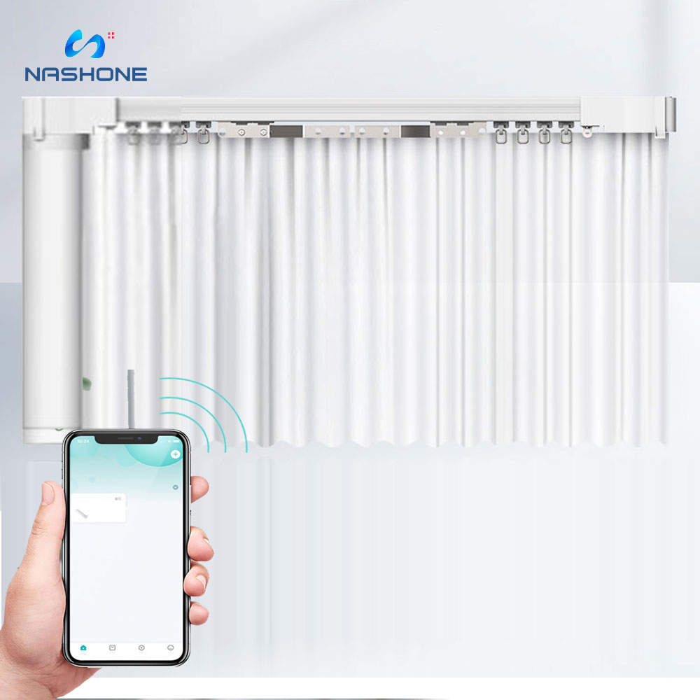 Nashone Smart Curtain Motor Tubular Tuya Smart Home Automation Curtain Wireless Remote Control Work With Alexa Google Home