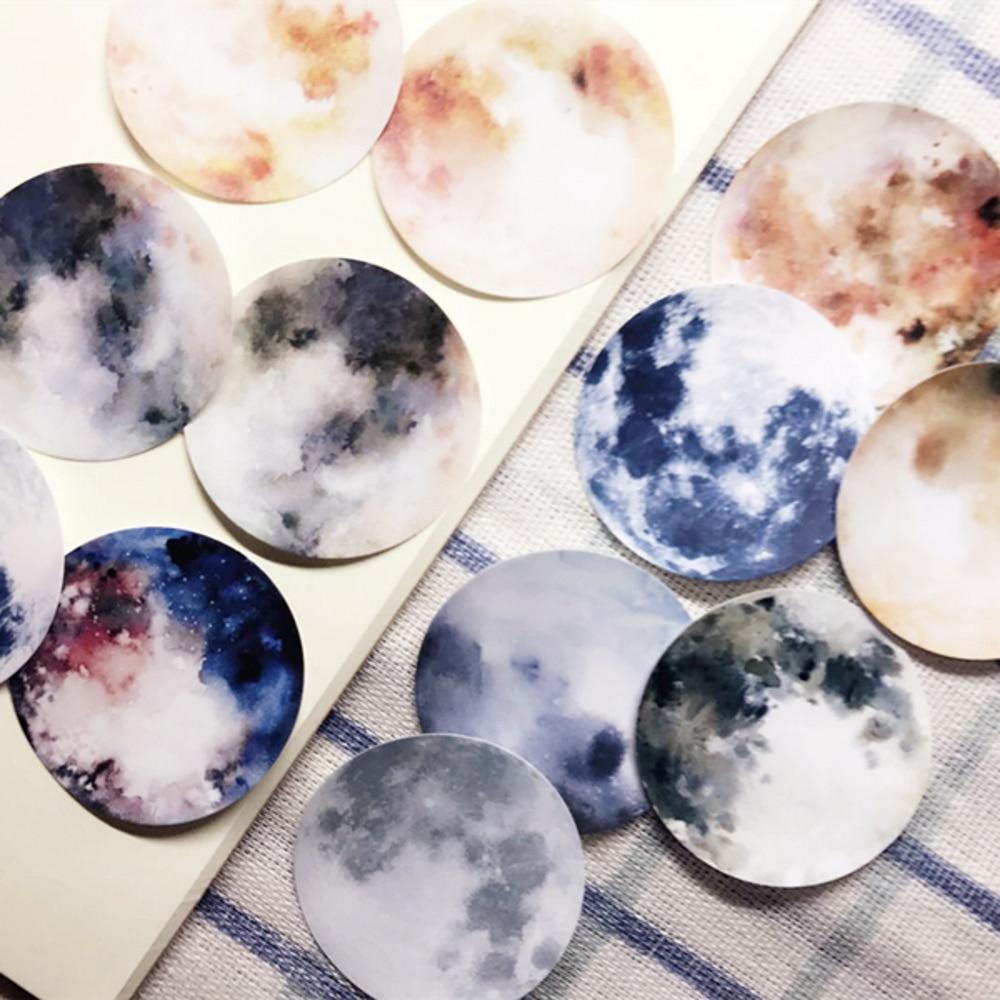 12Pcs/Set Vintage Round Moon Planet Sticker DIY Craft Scrapbooking Album Junk Journal Planner Decor Stickers