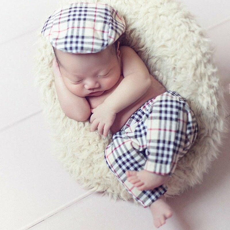 2019 garçon jarretelle pour bébé Photo accessoires Gentleman chapeau nouveau-né photographie accessoires Cowboy infantile Photoshoot Lattic tenues 3 pcs/S