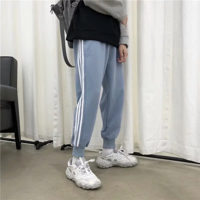 Super Fire CEC Ankle Banded Pants Men's Korean-style Trend INS Three Bars Stripes Loose-Fit Sports Sweatpants Spring And Autumn