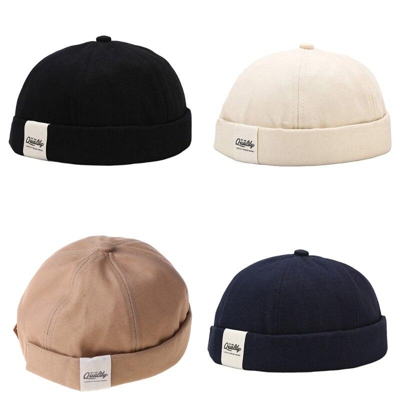 Korean Men Retro Hip Hop Rolled Edge Brimless Beanie Hat Letters Logo Patch 6 Panels Trendy Sailor Docker Cap Streetwear