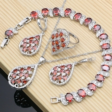 Luxury Fashion Bride Silver Color Red CZ Jewelry Sets Earrings Stone Bracelet Ring Necklace Set Dropshipping water drop wedding jewelry sets bride silver color jewelry accessories bracelet necklace set for women dropshipping