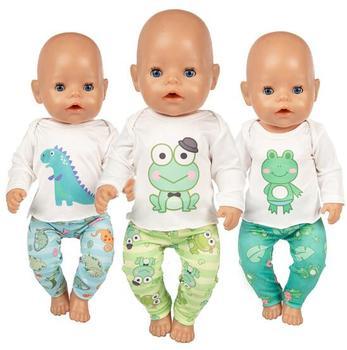 Moda żaba garnitur nosić na 43cm lalka noworodek ubrania 17 Cal urodzonych dzieci lalki ubrania i akcesoria tanie i dobre opinie NURVACO Cloth CN (pochodzenie) Dress BOYS Styl życia Koszule i bluzki 17 inch Doll is not included Akcesoria dla lalek