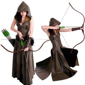 Image 1 - Kobiety moda Sexy Slim zasznurować skórzane średniowieczne Ranger długa sukienka dorosłych płaszcze Cosplay disfraz mujer kostium Halloween