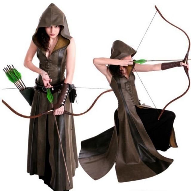 Kobiety moda Sexy Slim zasznurować skórzane średniowieczne Ranger długa sukienka dorosłych płaszcze Cosplay disfraz mujer kostium Halloween