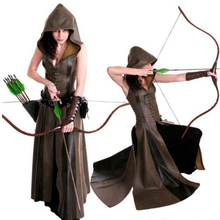 여성 패션 섹시 슬림 레이스 업 가죽 중세 레인저 롱 드레스 성인 코트 코스프레 disfraz mujer costume halloween