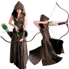 女性のファッションセクシーなスリムレースアップレザー中世レンジャーロングドレス大人コートコスプレ disfraz mujer 衣装ハロウィン