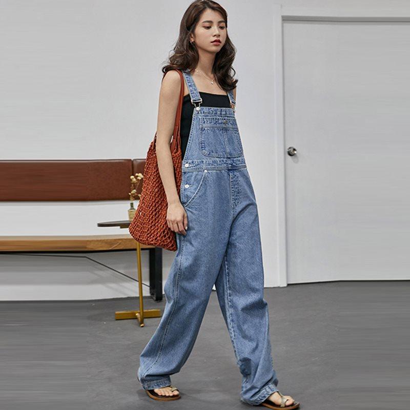 Washed Denim Jumpsuit Women 2019 Summer Autumn Loose Straight Japan Korean Style Ladies Long Bodysuit Girl Casual Jeans Rompers