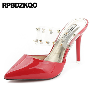 Pumps Fashion Shoes 2019 Luxury Women Rivet Stud Pvc Stiletto Mules Slipper Pointed Toe High Heels Red Summer Transparent Clear