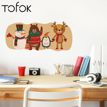 Tofok Christmas Snowman Bear Penguin Wall Sticker For Kids Room  Bedroom Living Cartoon Animals Decals Wallpaper Home Decor