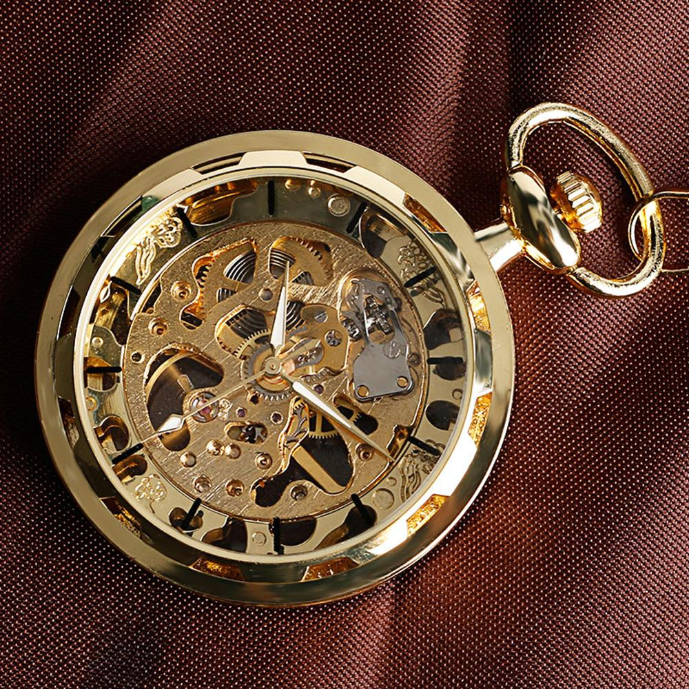 Купить с кэшбэком Vintage Watch Necklace Steampunk Skeleton Mechanical Fob Pocket Watch Clock Pendant Hand-winding Men Women Chain Gift
