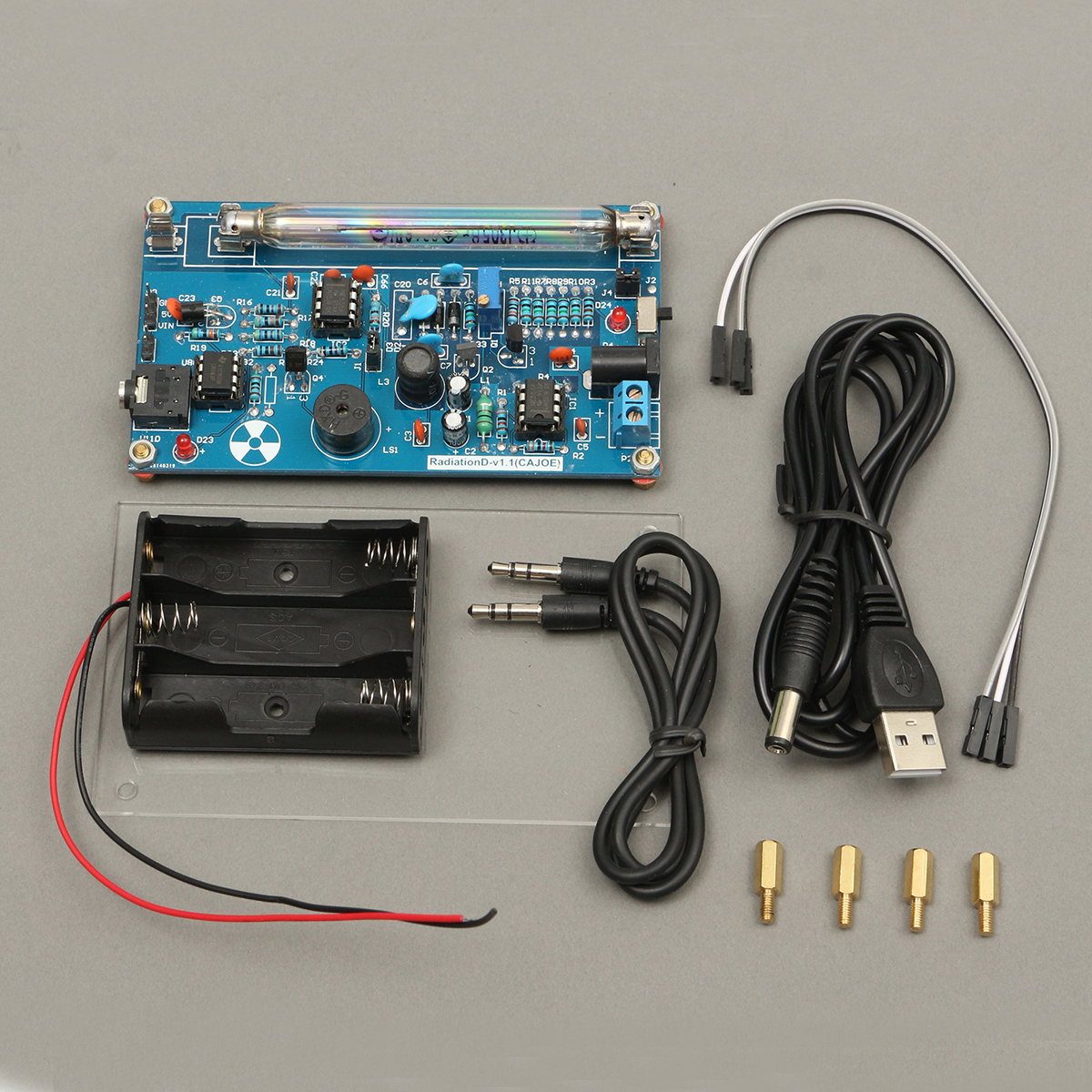 Detector de Radiação Estação de Monitoramento de Radiação Montado Faça Você Mesmo Geiger Contador Kit Nuclear Raios Gama Construir
