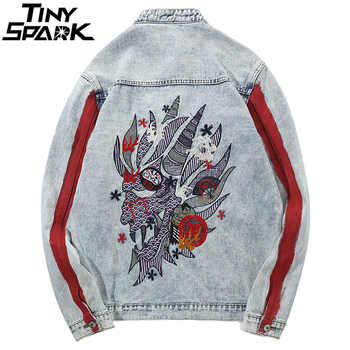 Harajuku Embroidery Dragon Jacket Jeans Streetwear Hip Hop Men Vintage Washed Denim Jacket 2018 Autumn Red Striped Denim Jackets - DISCOUNT ITEM  45 OFF Men\'s Clothing