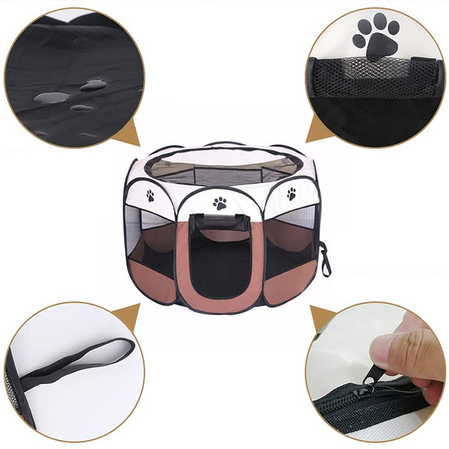 Pet Cage Portable Pet Tent Folding Dog House Cage Cat Tent Playpen Puppy Kennel Easy Operation Octagonal Fence Large Dogs House 2