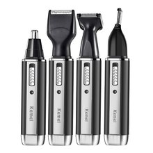 купить 4in1 rechargeable nose trimmer beard trimer for men ear eyebrow nose hair trimmer for nose and ear hair removal cleaning machine дешево