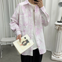 цены Spring Tie-dye Casual Shirt Men's Fashion Printed Long-sleeved Shirts Mens Streetwear Wild Loose Society Men Dress Shirt M-5XL