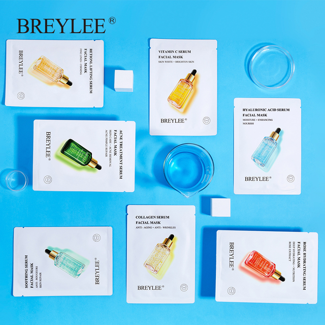 BREYLEE Face Mask Collagen Facial Sheet Mask Retinol Acne Treatment Serum Whitening Moisturizer Skin Care Anti Aging Vitamin C 4
