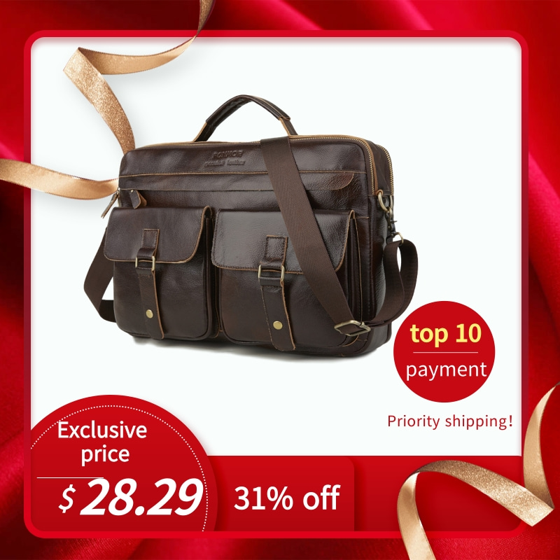 Leather Men's Briefcase Handbag Multi-Layer Zipper Men's Briefcase Oil Wax Leather Shoulder Bag 2019
