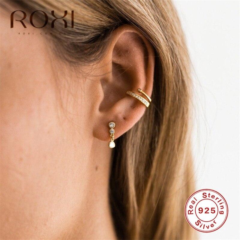 ROXI 925 Sterling Silver Earrings Golden Chain Rhinestone Stud Earrings for Women Prevent allergy Female Jewelry Korean Earings