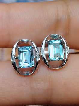 Fine Jewelry Pure 18K White Gold Natural Aquamarine Gemstone 2.6ct Diamonds Female's Earrings for Women FIne Earrings - DISCOUNT ITEM  49% OFF All Category