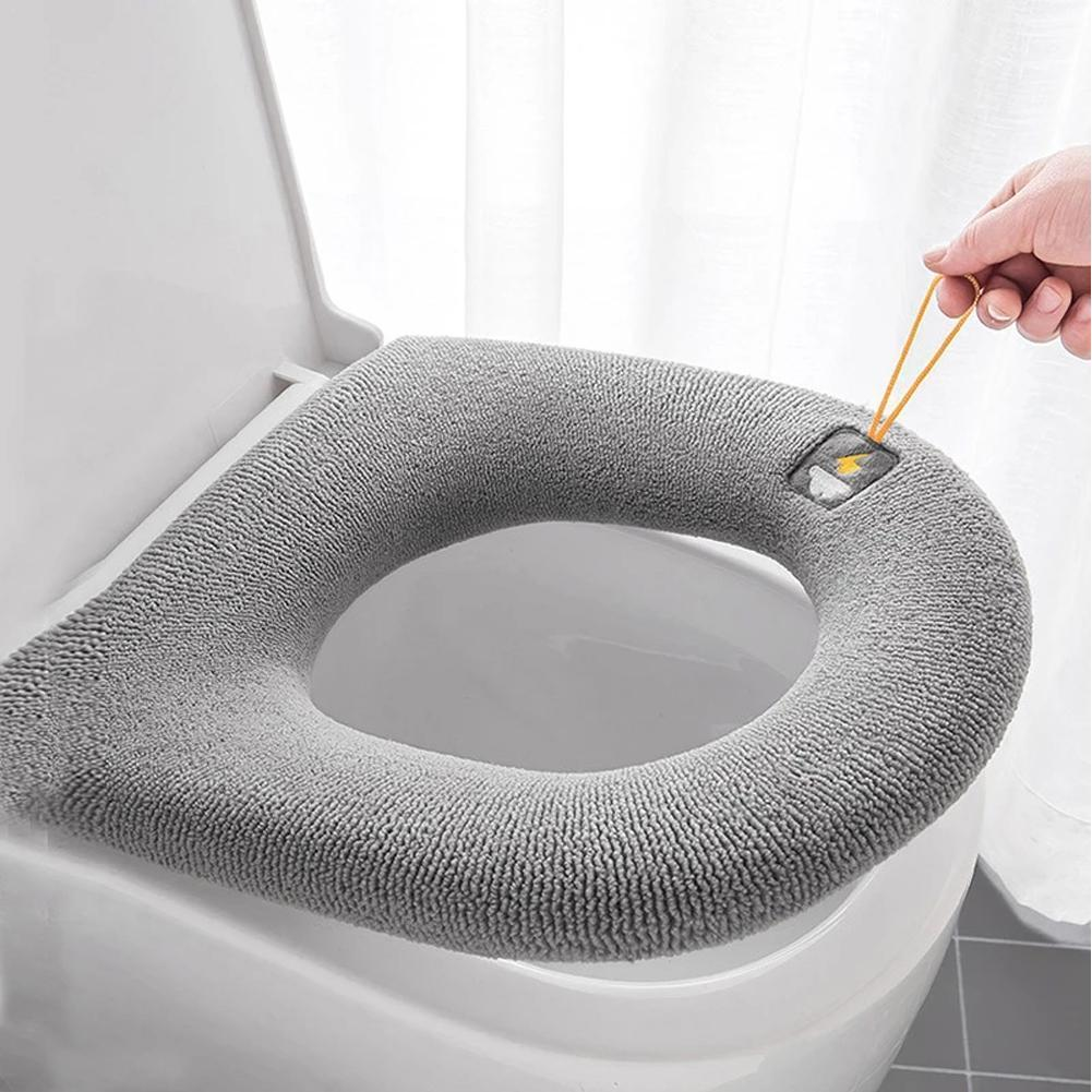 1pcs Non-slip Toilet Seat With Handle Thick Knitted Seat Cushion Washable Household Toilet Seat Ring