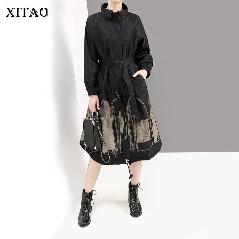 XITAO Fashion Printing   Trench   Coat for Women Cloak Style Tooling Windbreaker Leisure Bandage Elegant Top Women Autumn XJ2374