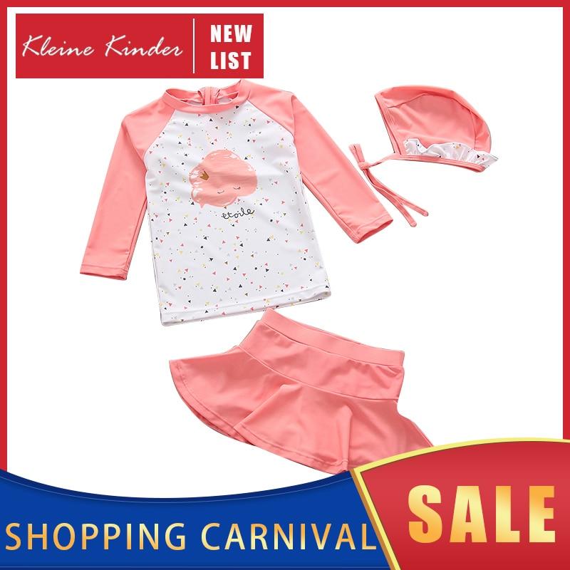 Swimwear Girl UPF50 Girls' Swimsuit 3-Piece Long Sleeve Sun UV Protection Baby Bathing Clothes Beach Pool Children Swimming Suit
