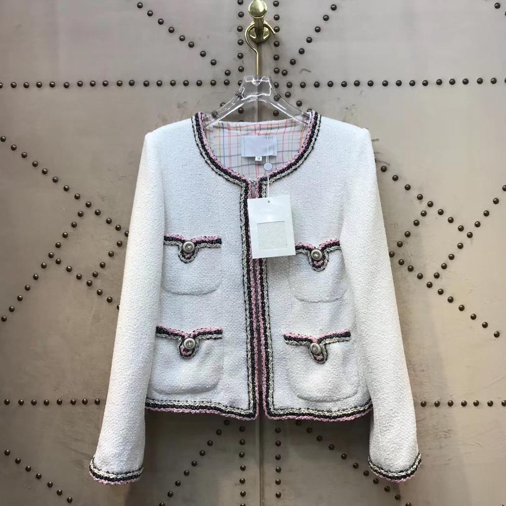 2020  Spring Women White Tweed Jacket Pocket Chain Female Short Coat High Quality Elegant Fashion Runway Jackets