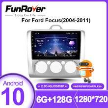 Funrover auto Radio Multimedia reproductor de vídeo para Ford Focus 2 Mk 2004-2011 GPS de navegación 2 din DVD Android 10,0 estéreo 128G DSP