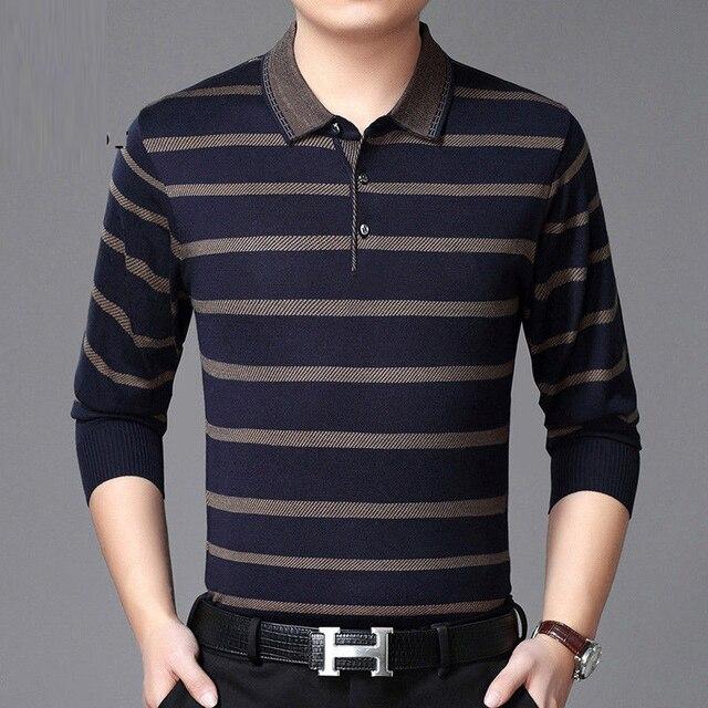 2019 Mannen Gestreept Polo Shirt Lange Mouwen Herfst Winter Nieuwe Mode Hoge Kwaliteit Mannelijke Toevallige Effen Polo Shirt Merk Kleding