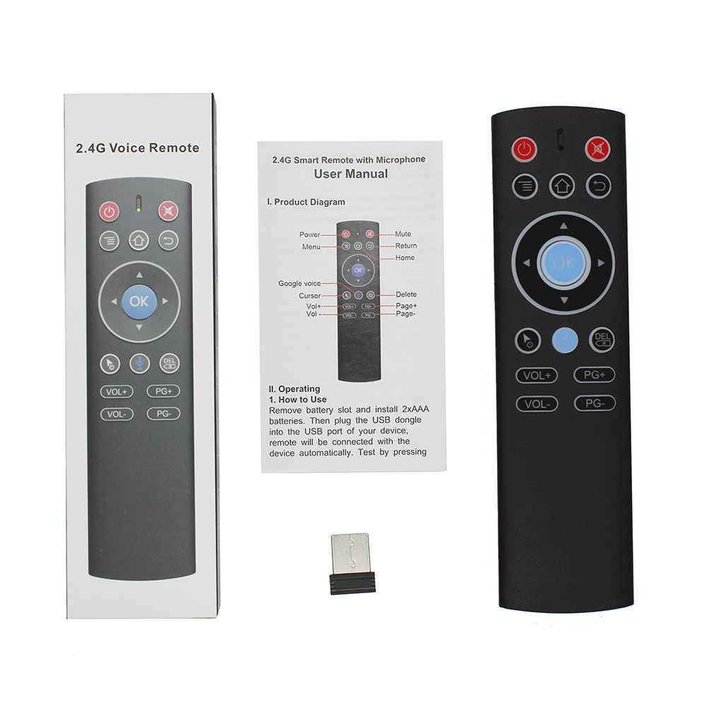 T1 2.4G sans fil gyroscope Air souris Google voix télécommande IR apprentissage pour X96mini H96 HK1 MAX Android TV box PC