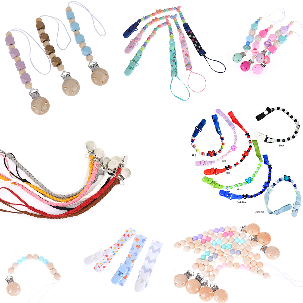 DIY Baby Pacifier Clip Colorful Pacifier Chain For Baby Teething Soother Chew Toy Pacifier Holder