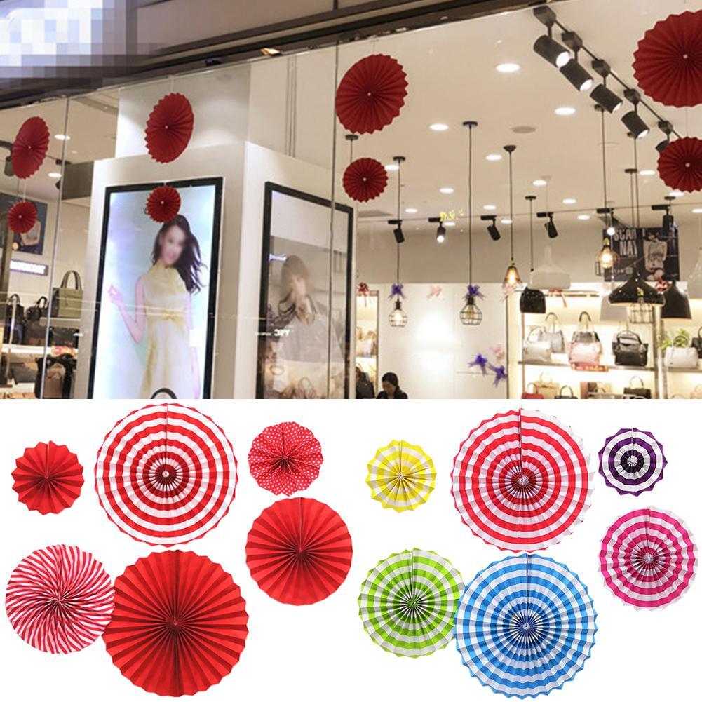 6Pcs Folding Paper Fan Round Decorative Fans DIY Crafts Decorative Fans Glass Window Wall DEcor Wedding Birthday Party Decor