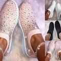 SAGACE/женские ботильоны; лоферы на плоской подошве; модные блестящие кроссовки; Повседневная Женская дышащая обувь без застежки; #45