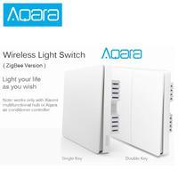 Aqara-Interruptor de pared con Control de luz inteligente ZigBee, conexión inalámbrica con doble tecla, aplicación remota mi home
