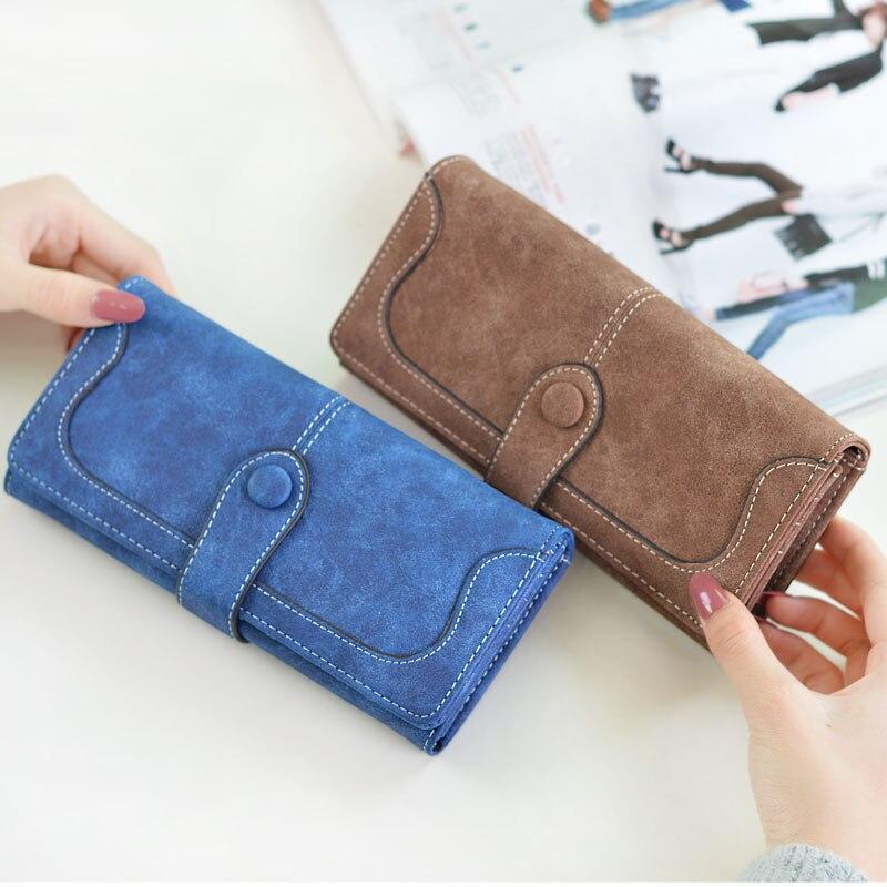 2019 mode Lange Geldbörse Kupplung Frauen Retro Matte Nähen Leder Brieftasche Frauen Casual Haspe Dollar Preis Brieftasche Handtasche Carteira
